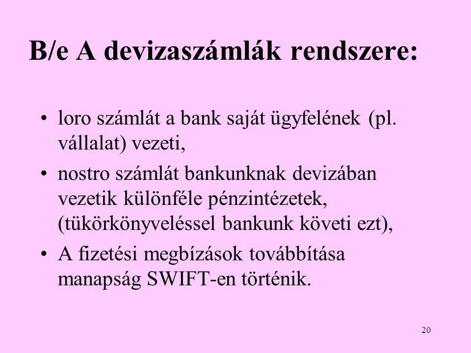 20 B/e A devizaszámlák rendszere: •loro számlát a bank saját ügyfelének (pl.