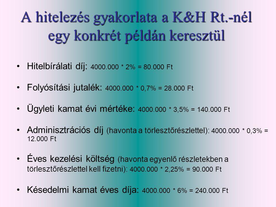 A hitelezés gyakorlata a K&H Rt.-nél egy konkrét példán keresztül •Hitelbírálati díj: 4000.000 * 2% = 80.000 Ft •Folyósítási jutalék: 4000.000 * 0,7%