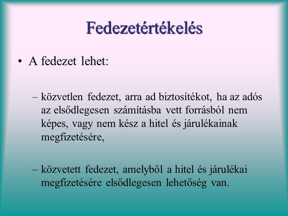 Fedezetértékelés •A fedezet lehet: –közvetlen fedezet, arra ad biztosítékot, ha az adós az elsődlegesen számításba vett forrásból nem képes, vagy nem