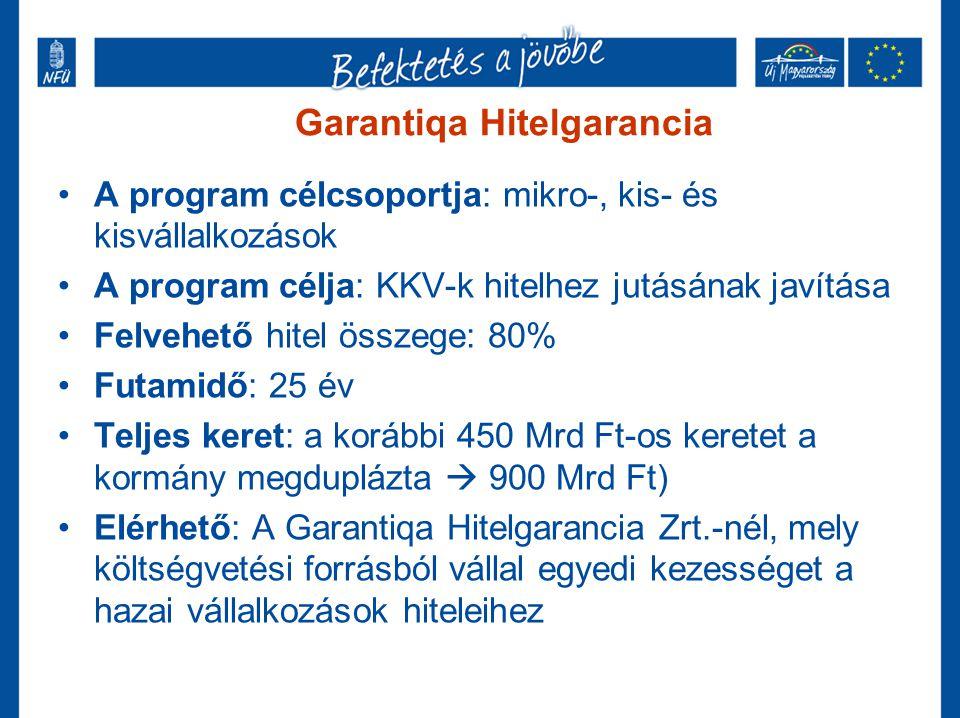 Garantiqa Hitelgarancia •A program célcsoportja: mikro-, kis- és kisvállalkozások •A program célja: KKV-k hitelhez jutásának javítása •Felvehető hitel