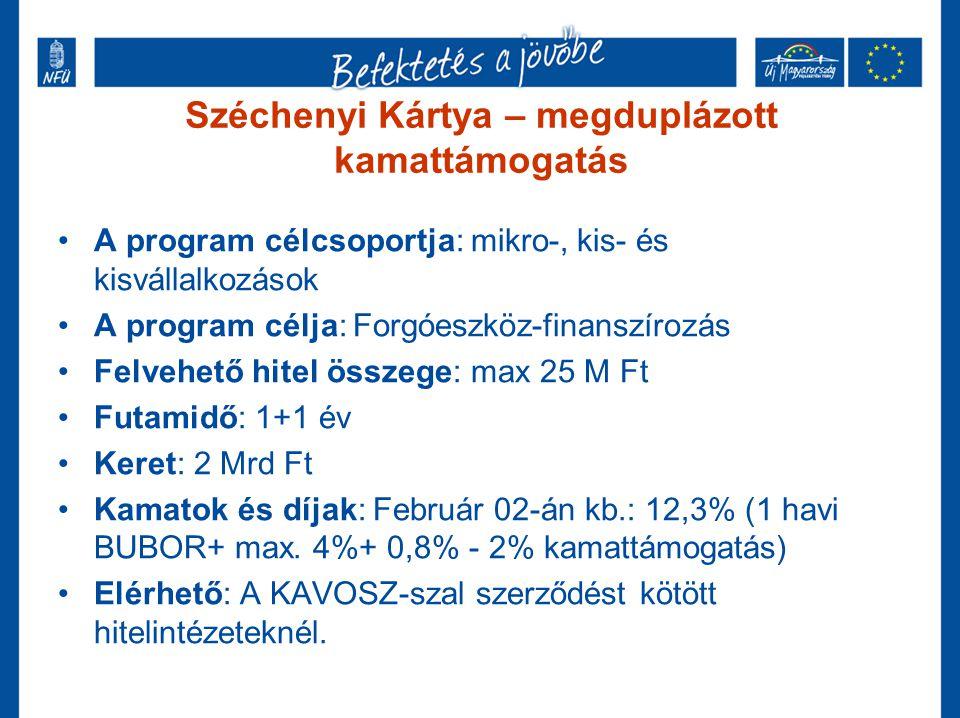 Széchenyi Kártya – megduplázott kamattámogatás •A program célcsoportja: mikro-, kis- és kisvállalkozások •A program célja: Forgóeszköz-finanszírozás •