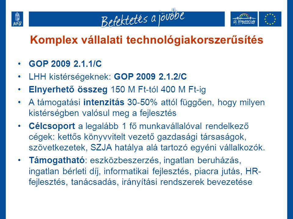 Komplex vállalati technológiakorszerűsítés •GOP 2009 2.1.1/C •LHH kistérségeknek: GOP 2009 2.1.2/C •Elnyerhető összeg 150 M Ft-tól 400 M Ft-ig •A támo