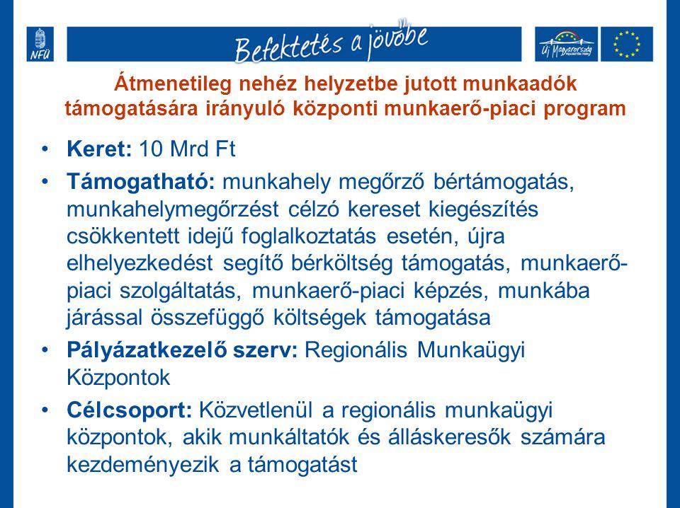 Átmenetileg nehéz helyzetbe jutott munkaadók támogatására irányuló központi munkaerő-piaci program •Keret: 10 Mrd Ft •Támogatható: munkahely megőrző b