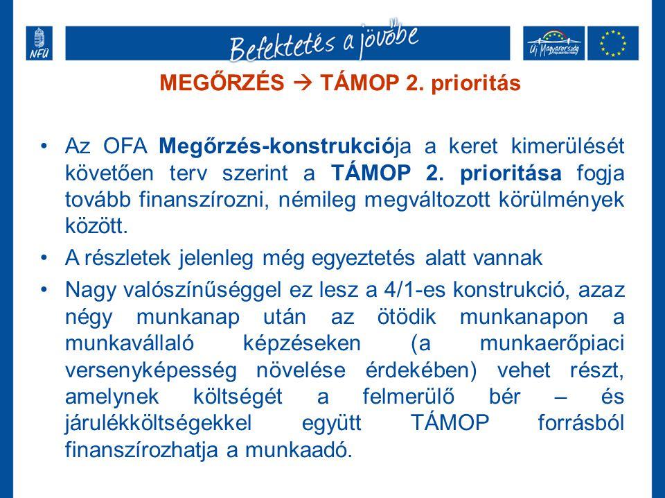 MEGŐRZÉS  TÁMOP 2. prioritás •Az OFA Megőrzés-konstrukciója a keret kimerülését követően terv szerint a TÁMOP 2. prioritása fogja tovább finanszírozn