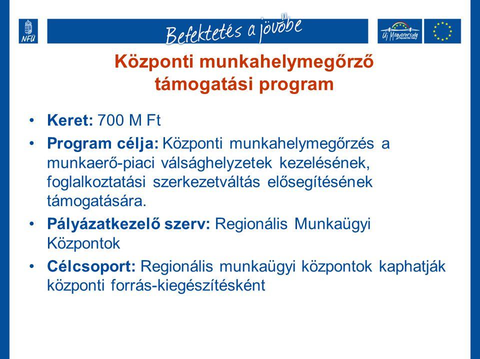 Központi munkahelymegőrző támogatási program •Keret: 700 M Ft •Program célja: Központi munkahelymegőrzés a munkaerő-piaci válsághelyzetek kezelésének,