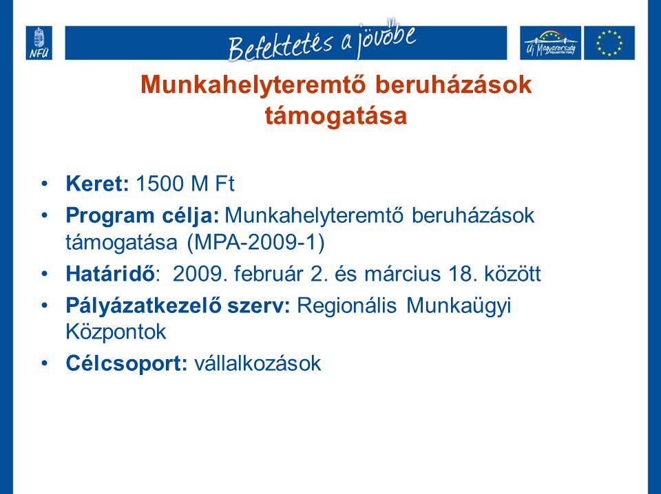 Munkahelyteremtő beruházások támogatása •Keret: 1500 M Ft •Program célja: Munkahelyteremtő beruházások támogatása (MPA-2009-1) •Határidő: 2009. februá