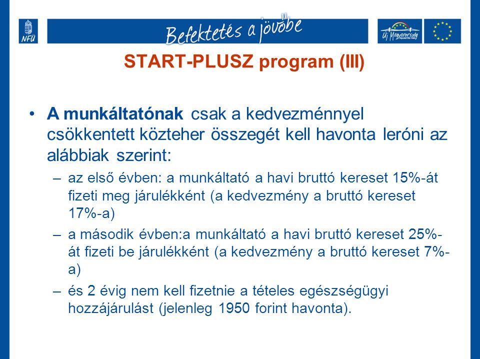 START-PLUSZ program (III) •A munkáltatónak csak a kedvezménnyel csökkentett közteher összegét kell havonta leróni az alábbiak szerint: –az első évben:
