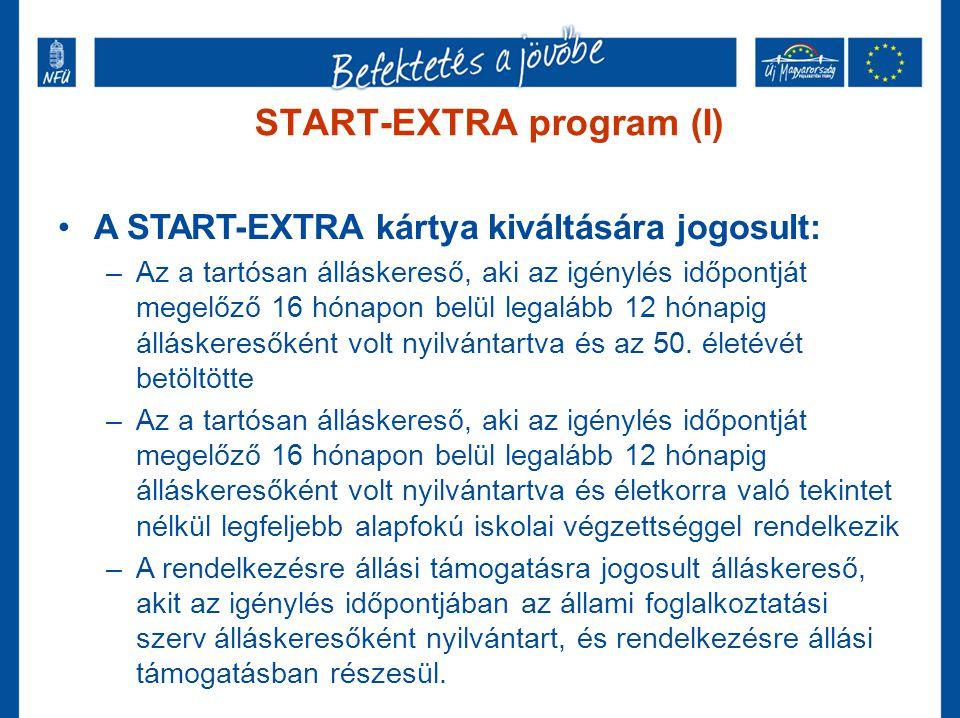 START-EXTRA program (I) •A START-EXTRA kártya kiváltására jogosult: –Az a tartósan álláskereső, aki az igénylés időpontját megelőző 16 hónapon belül l