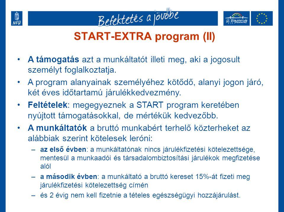 START-EXTRA program (II) •A támogatás azt a munkáltatót illeti meg, aki a jogosult személyt foglalkoztatja. •A program alanyainak személyéhez kötődő,