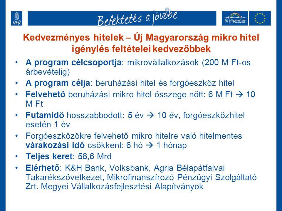Kedvezményes hitelek – Új Magyarország Kis- és Középvállalkozói Hitelprogram – kedvezőbb Beruházási Hitel •A program célcsoportja: mikro-, kis- és középvállalkozások •A program célja: beruházási hitel •Felvehető hitel összege: 10-100 M Ft •Futamidő: 10 év •Teljes keret: 50 Mrd •Kamatok és díjak: Február 02-án kb.: 7,5% (3 havi EURIBOR*0,75+0,75% + max.