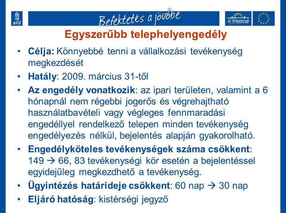 Egyszerűbb telephelyengedély •Célja: Könnyebbé tenni a vállalkozási tevékenység megkezdését •Hatály: 2009. március 31-től •Az engedély vonatkozik: az