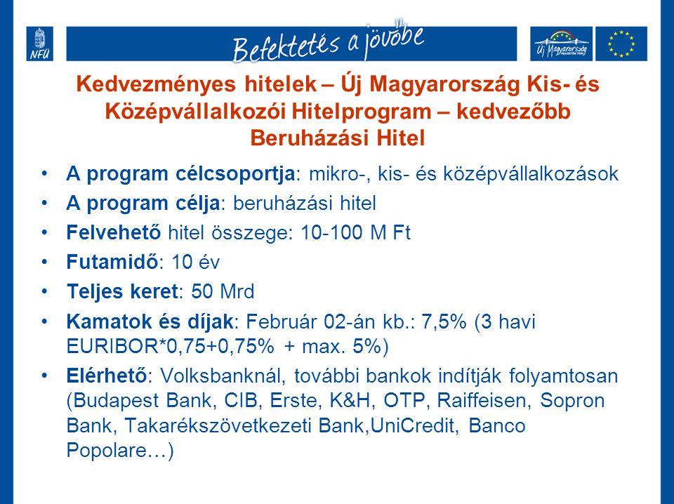 Kedvezményes hitelek – MFB Hitelek •A program célcsoportja: mikro-, kis- és középvállalkozások •A program célja: beruházási és forgóeszközhitel •Felvehető hitel összege: változó •Futamidő: változó •Teljes keret: 160 Mrd •Kamatok és díjak: Február 02-án kb.: 6,20% - 13,5% (Jellemzően: 3 havi EURIBOR + max.