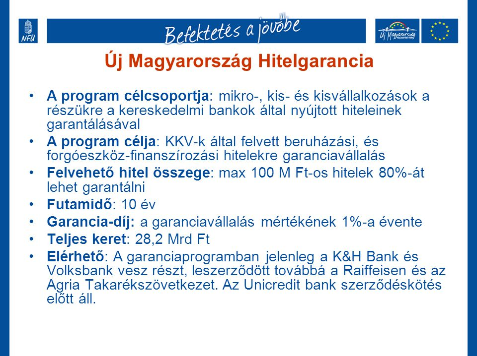 Garantiqa Hitelgarancia •A program célcsoportja: mikro-, kis- és kisvállalkozások •A program célja: KKV-k hitelhez jutásának javítása •Felvehető hitel összege: 80% •Futamidő: 25 év •Teljes keret: a korábbi 450 Mrd Ft-os keretet a kormány megduplázta  900 Mrd Ft) •Elérhető: A Garantiqa Hitelgarancia Zrt.-nél, mely költségvetési forrásból vállal egyedi kezességet a hazai vállalkozások hiteleihez