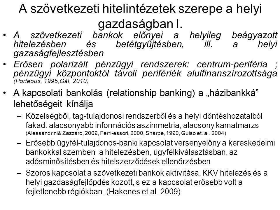 A szövetkezeti hitelintézetek szerepe a helyi gazdaságban I. •A szövetkezeti bankok előnyei a helyileg beágyazott hitelezésben és betétgyűjtésben, ill