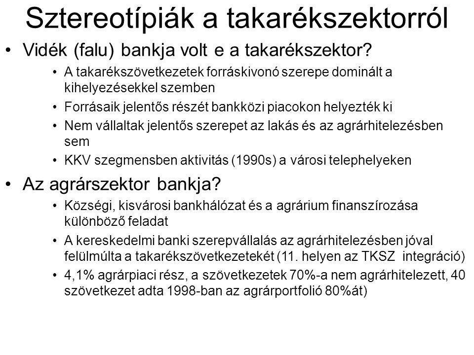 Sztereotípiák a takarékszektorról •Vidék (falu) bankja volt e a takarékszektor? •A takarékszövetkezetek forráskivonó szerepe dominált a kihelyezésekke