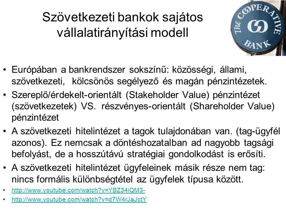 Szövetkezeti bankok sajátos vállalatirányítási modell •Európában a bankrendszer sokszínű: közösségi, állami, szövetkezeti, kölcsönös segélyező és magá