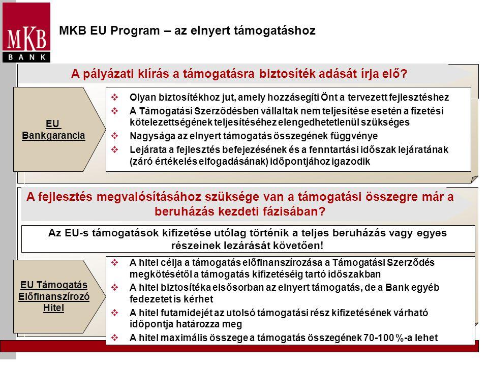MKB EU Program – az elnyert támogatáshoz A pályázati kiírás a támogatásra biztosíték adását írja elő?  Olyan biztosítékhoz jut, amely hozzásegíti Önt