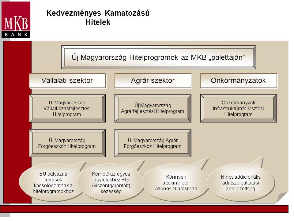 """Kedvezményes Kamatozású Hitelek Új Magyarország Hitelprogramok az MKB """"palettáján"""" Agrár szektor Vállalati szektor Önkormányzatok Új Magyarország Váll"""