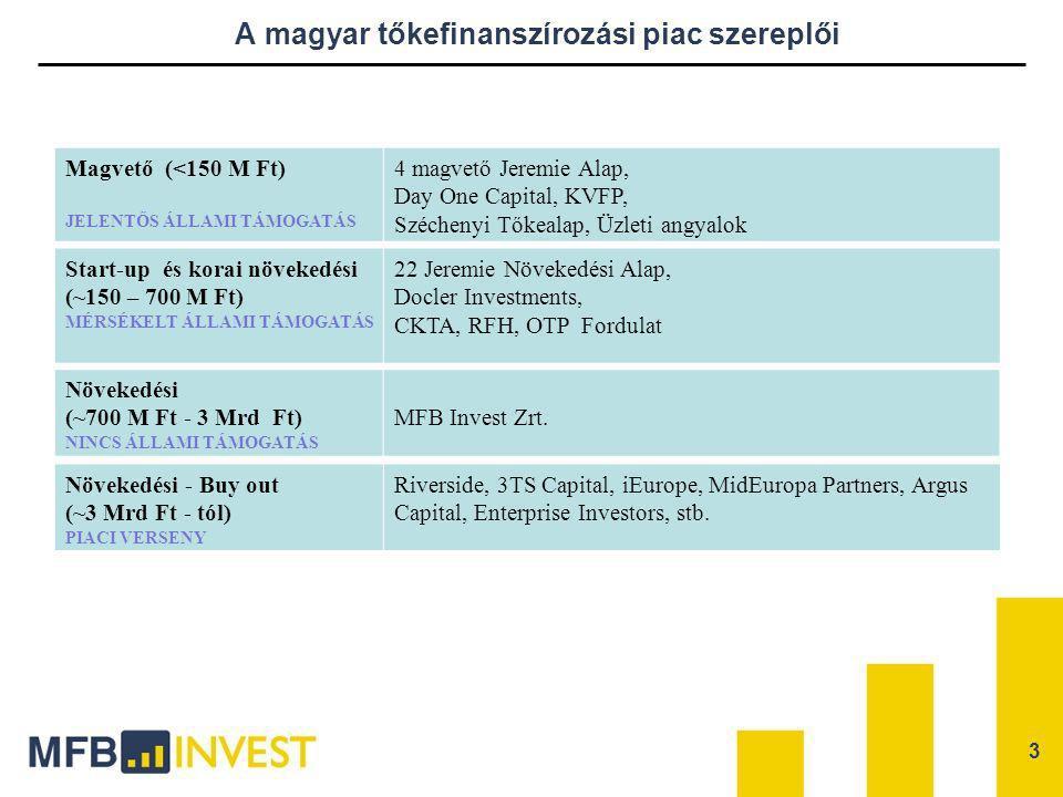 A magyar tőkefinanszírozási piac szereplői Növekedési - Buy out (~3 Mrd Ft - tól) PIACI VERSENY Riverside, 3TS Capital, iEurope, MidEuropa Partners, A