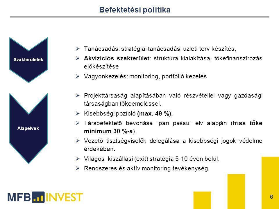 Befektetési politika  Tanácsadás: stratégiai tanácsadás, üzleti terv készítés,  Akvizíciós szakterület: struktúra kialakítása, tőkefinanszírozás elő