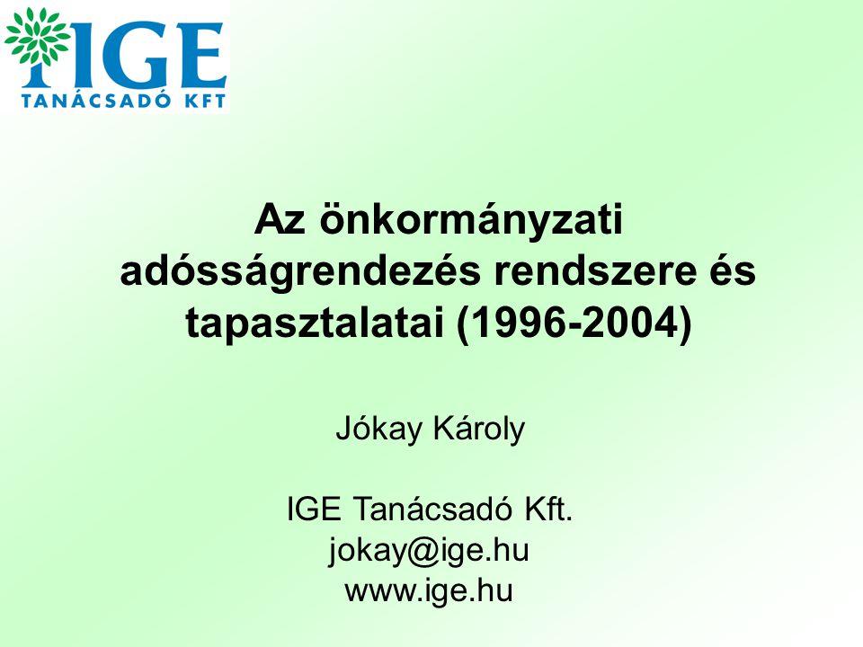 Az önkormányzati adósságrendezés rendszere és tapasztalatai (1996-2004) Jókay Károly IGE Tanácsadó Kft. jokay@ige.hu www.ige.hu