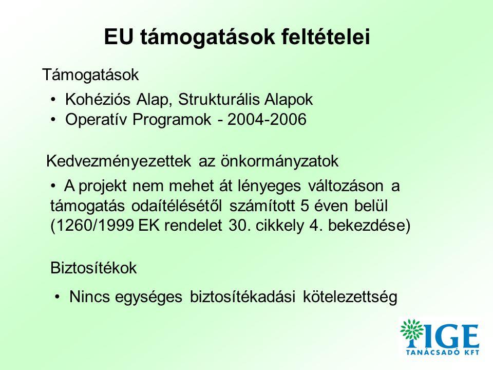 • Kohéziós Alap, Strukturális Alapok • Operatív Programok - 2004-2006 EU támogatások feltételei Támogatások Kedvezményezettek az önkormányzatok • A projekt nem mehet át lényeges változáson a támogatás odaítélésétől számított 5 éven belül (1260/1999 EK rendelet 30.