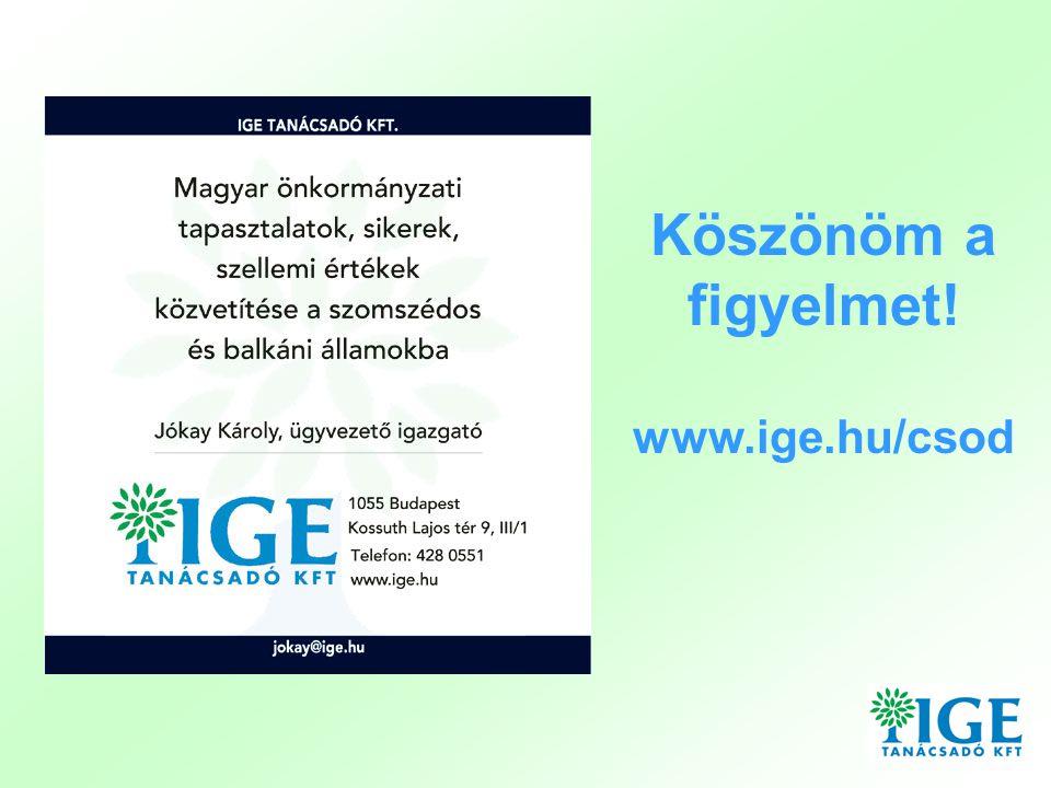 Köszönöm a figyelmet! www.ige.hu/csod