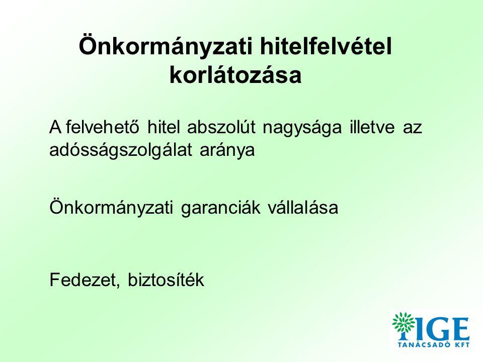 Felvehető hitel abszolút nagysága illetve az adósságszolgálat aránya • Egyesült Királyság: Hitelek ellenjegyzése (minisztériumi jóváhagyás) • Dánia: A hitelfelvétel néhány kivételtől eltekintve nem megengedett • Németország: Tartományonként eltérő a limit, jóváhagyása szükséges • Lengyelország: és Csehország: A folyó bevételek 15 %-a használható hitelek finanszírozására • Horvátország: A saját bevételek 20 %-a fordítható adósságszolgálatra, PM engedélye szükséges • Írország: Minden hitelt engedélyeztetni kell a Miniszterrel, aki meghatározza, hogy szükség van-e hitelre, és vissza tudják-e fizetni • Ausztria: Minden tartományban más korlátozások élnek, annak tekintetében, hogy mikor melyik közig.
