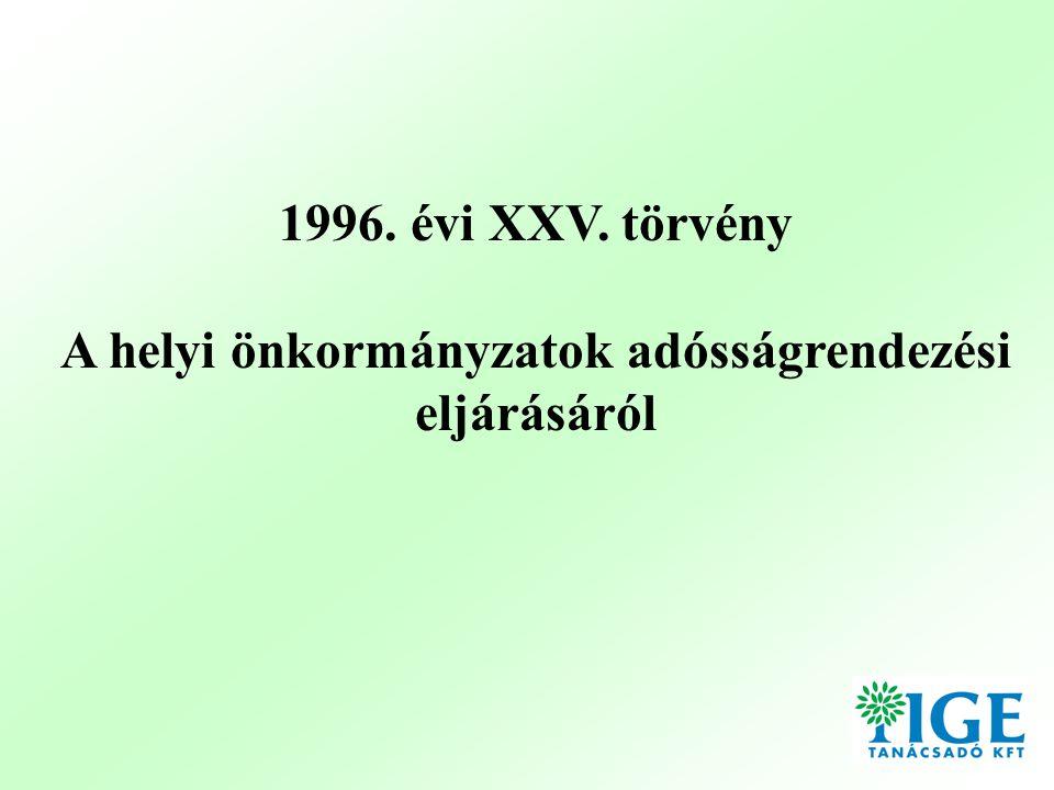 1996. évi XXV. törvény A helyi önkormányzatok adósságrendezési eljárásáról