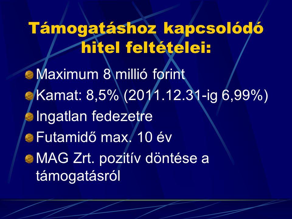 Támogatáshoz kapcsolódó hitel feltételei: Maximum 8 millió forint Kamat: 8,5% (2011.12.31-ig 6,99%) Ingatlan fedezetre Futamidő max.