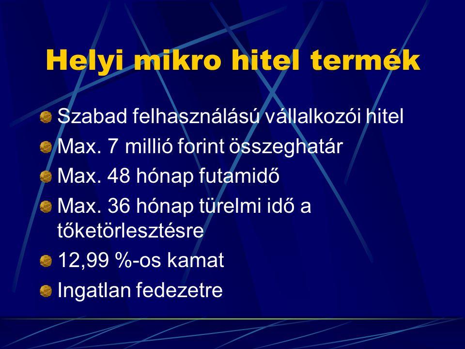 Helyi mikro hitel termék Szabad felhasználású vállalkozói hitel Max.
