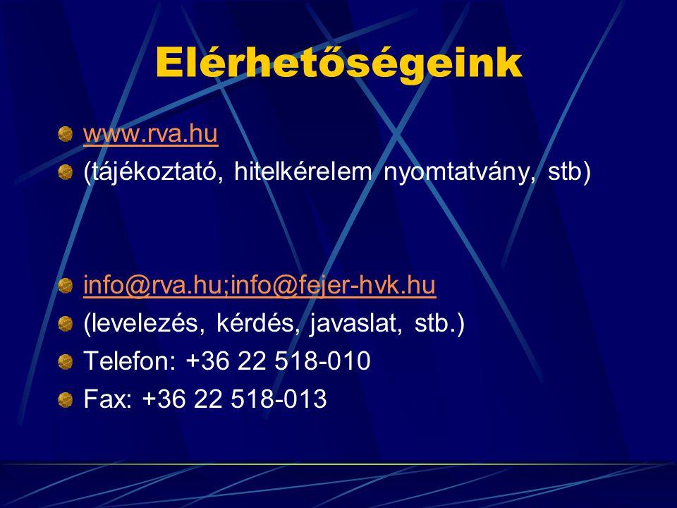 Elérhetőségeink www.rva.hu (tájékoztató, hitelkérelem nyomtatvány, stb) info@rva.hu;info@fejer-hvk.hu (levelezés, kérdés, javaslat, stb.) Telefon: +36 22 518-010 Fax: +36 22 518-013