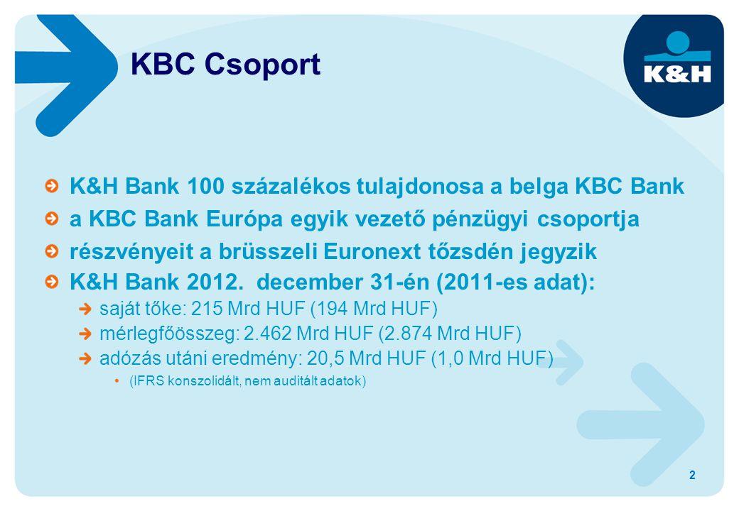 K&H Bank 100 százalékos tulajdonosa a belga KBC Bank a KBC Bank Európa egyik vezető pénzügyi csoportja részvényeit a brüsszeli Euronext tőzsdén jegyzik K&H Bank 2012.