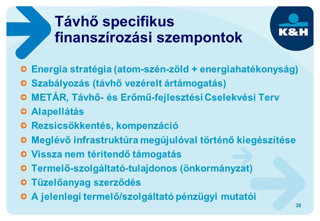 38 Távhő specifikus finanszírozási szempontok Energia stratégia (atom-szén-zöld + energiahatékonyság) Szabályozás (távhő vezérelt ártámogatás) METÁR, Távhő- és Erőmű-fejlesztési Cselekvési Terv Alapellátás Rezsicsökkentés, kompenzáció Meglévő infrastruktúra megújulóval történő kiegészítése Vissza nem térítendő támogatás Termelő-szolgáltató-tulajdonos (önkormányzat) Tüzelőanyag szerződés A jelenlegi termelő/szolgáltató pénzügyi mutatói