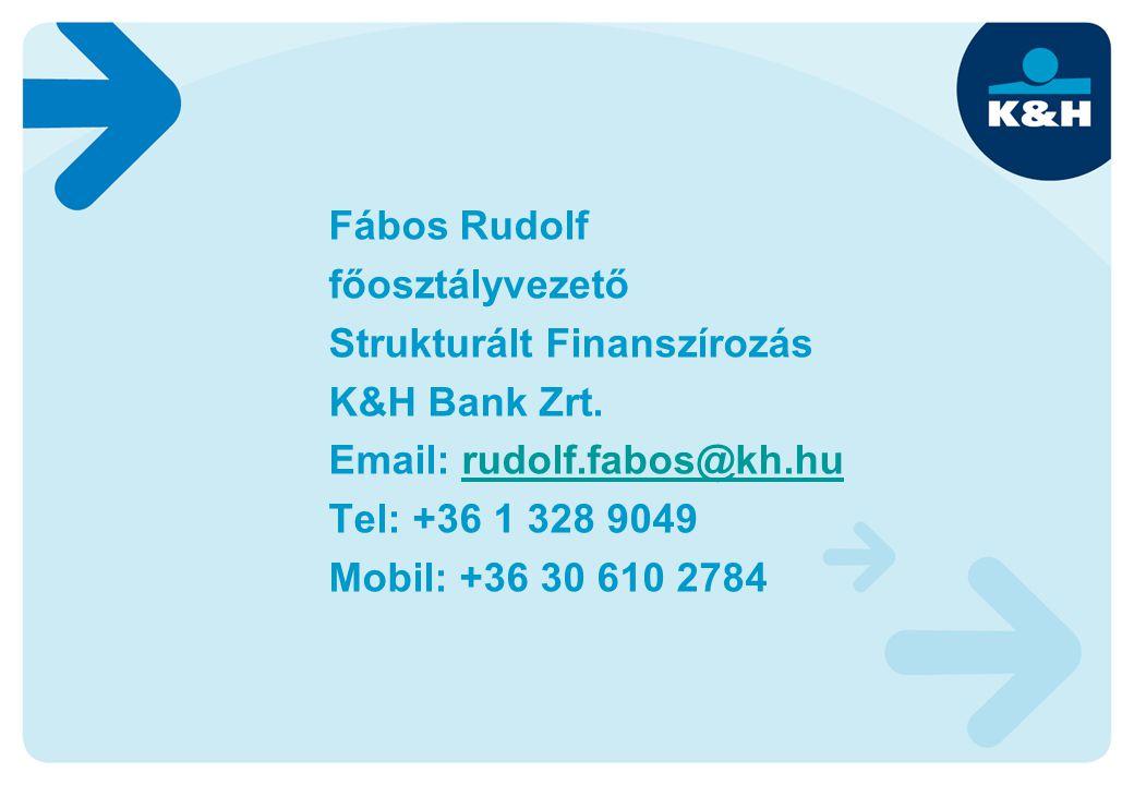 Fábos Rudolf főosztályvezető Strukturált Finanszírozás K&H Bank Zrt. Email: rudolf.fabos@kh.hurudolf.fabos@kh.hu Tel: +36 1 328 9049 Mobil: +36 30 610