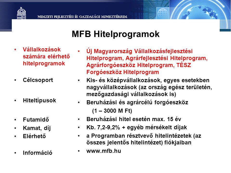 MFB Hitelprogramok •Vállalkozások számára elérhető hitelprogramok •Célcsoport •Hiteltípusok •Futamidő •Kamat, díj •Elérhető •Információ •Új Magyarorsz