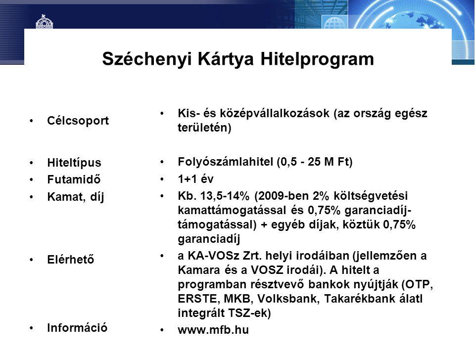 Széchenyi Kártya Hitelprogram •Célcsoport •Hiteltípus •Futamidő •Kamat, díj •Elérhető •Információ •Kis- és középvállalkozások (az ország egész terület