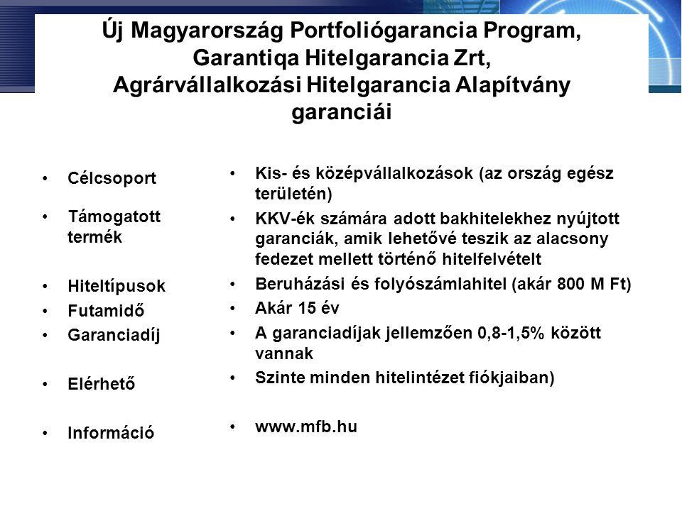 Új Magyarország Portfoliógarancia Program, Garantiqa Hitelgarancia Zrt, Agrárvállalkozási Hitelgarancia Alapítvány garanciái •Célcsoport •Támogatott t