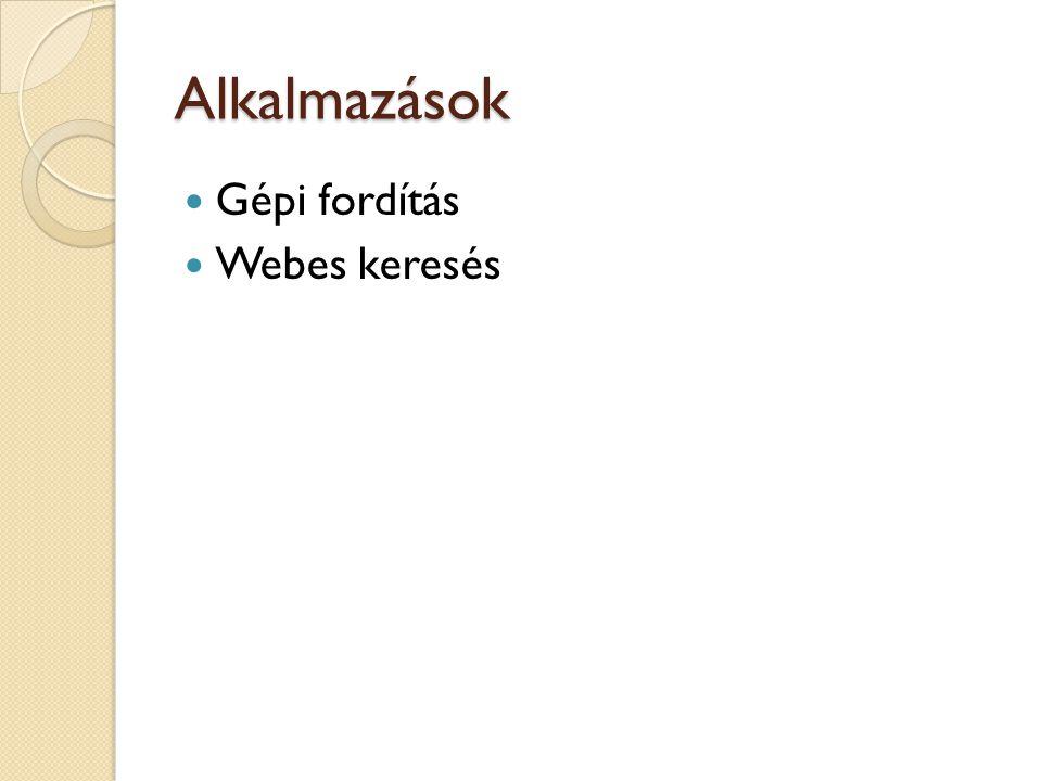 Alkalmazások  Gépi fordítás  Webes keresés