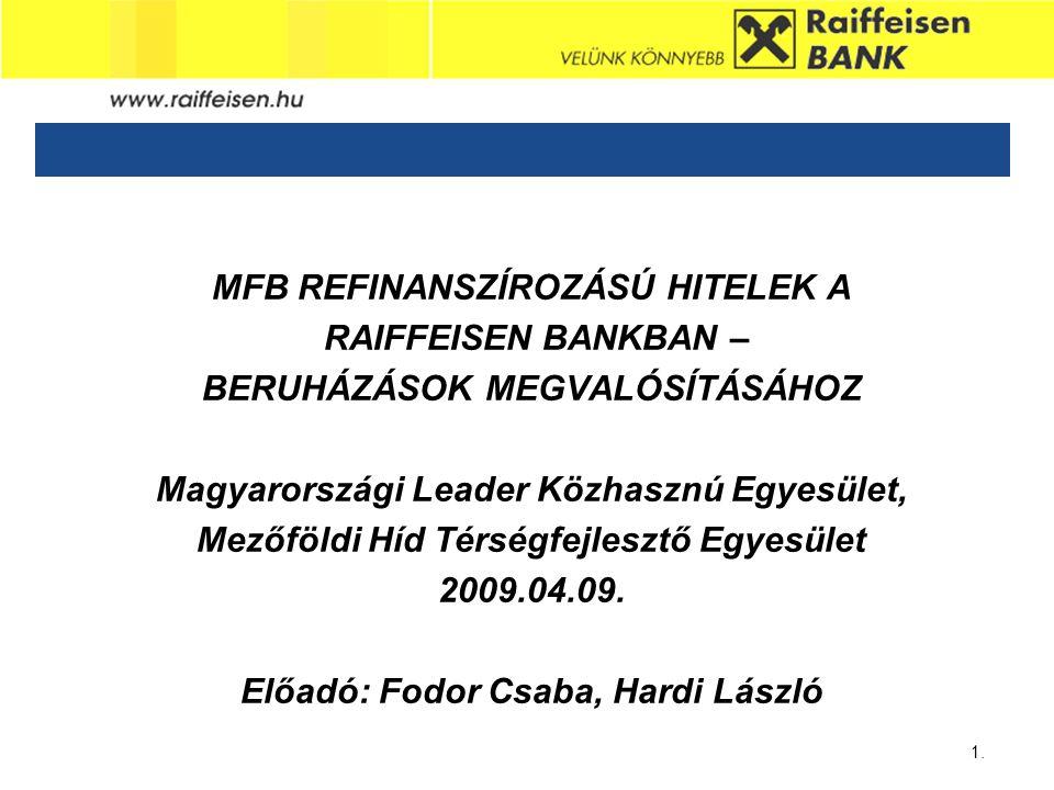 Sub - Heading 1. MFB REFINANSZÍROZÁSÚ HITELEK A RAIFFEISEN BANKBAN – BERUHÁZÁSOK MEGVALÓSÍTÁSÁHOZ Magyarországi Leader Közhasznú Egyesület, Mezőföldi