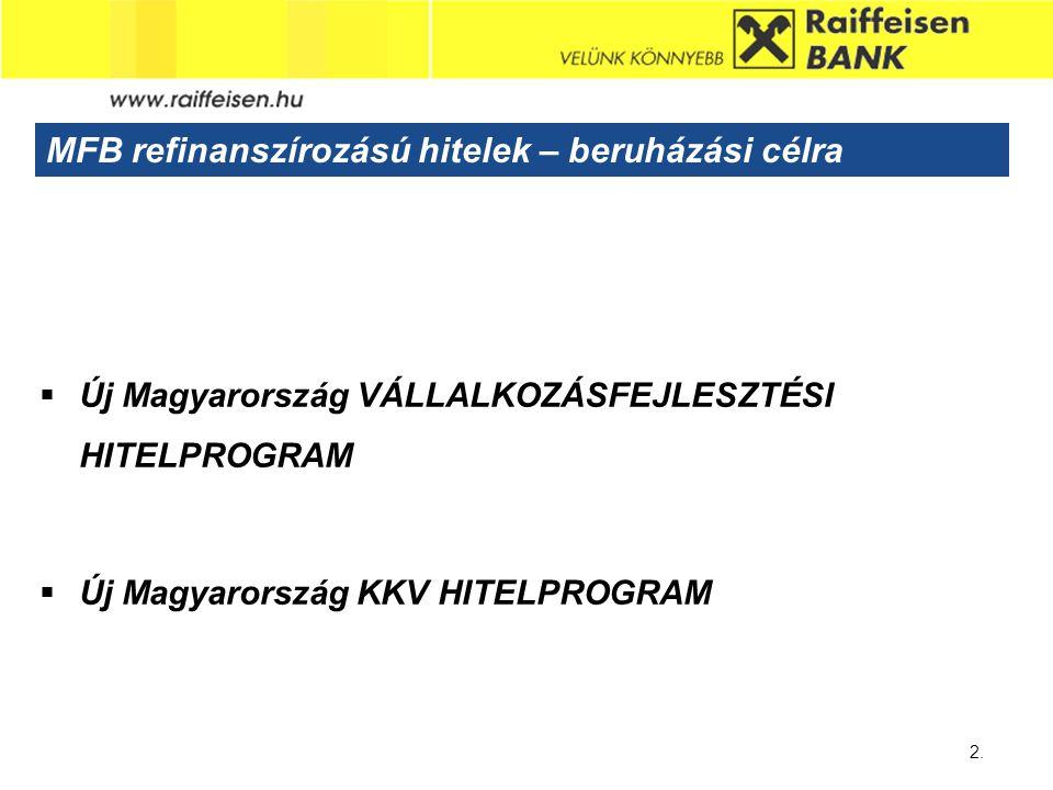 Sub - Heading 2. MFB refinanszírozású hitelek – beruházási célra  Új Magyarország VÁLLALKOZÁSFEJLESZTÉSI HITELPROGRAM  Új Magyarország KKV HITELPROG