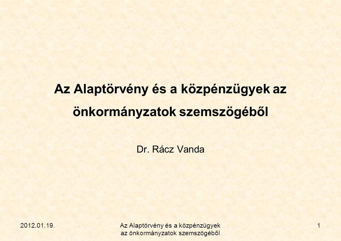 2012.01.19.Az Alaptörvény és a közpénzügyek az önkormányzatok szemszögéből 1 Dr. Rácz Vanda
