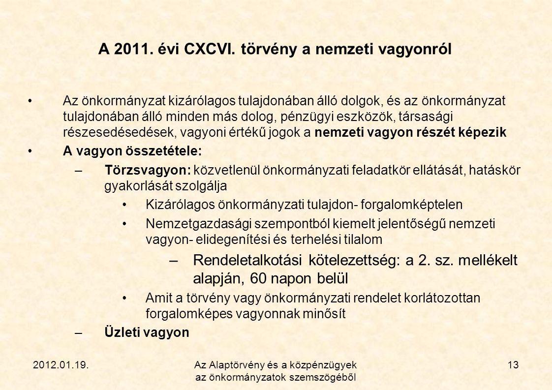 2012.01.19.Az Alaptörvény és a közpénzügyek az önkormányzatok szemszögéből 13 A 2011. évi CXCVI. törvény a nemzeti vagyonról •Az önkormányzat kizáróla