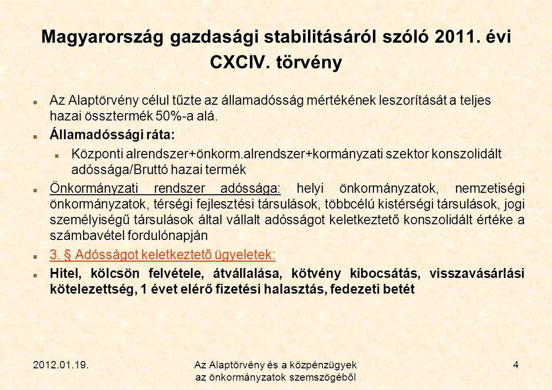 2012.01.19.Az Alaptörvény és a közpénzügyek az önkormányzatok szemszögéből 4 Magyarország gazdasági stabilitásáról szóló 2011. évi CXCIV. törvény  Az