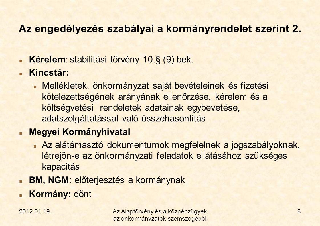 2012.01.19.Az Alaptörvény és a közpénzügyek az önkormányzatok szemszögéből 9 Az államháztartásról szóló 2011.