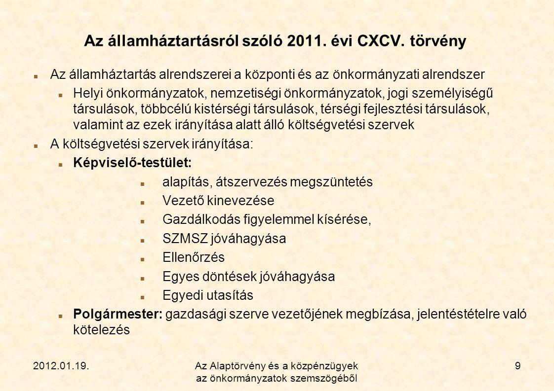2012.01.19.Az Alaptörvény és a közpénzügyek az önkormányzatok szemszögéből 10 A tervezési folyamat az Áht.