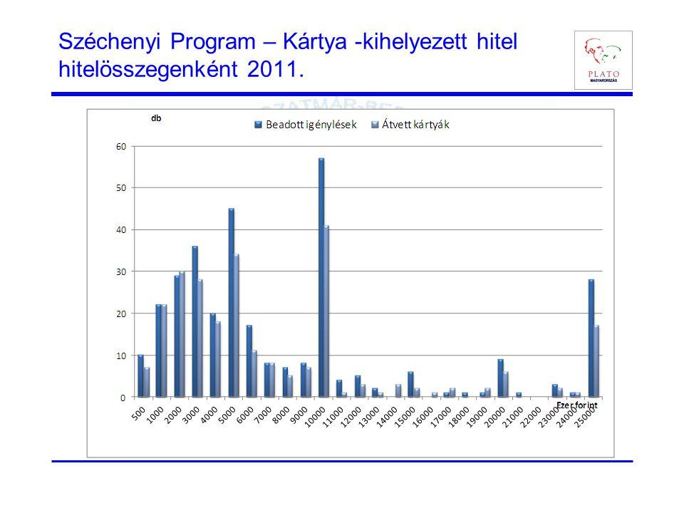 Széchenyi Program – Kártya -kihelyezett hitel hitelösszegenként 2011.
