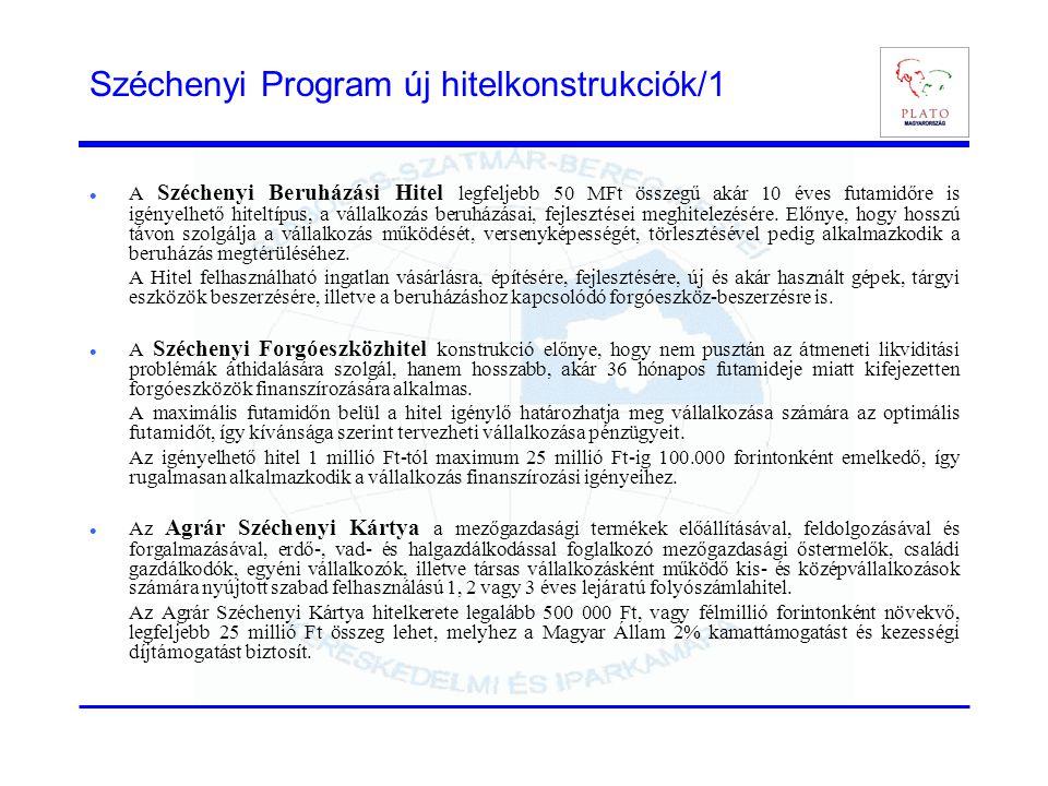 Széchenyi Program új hitelkonstrukciók/1  A Széchenyi Beruházási Hitel legfeljebb 50 MFt összegű akár 10 éves futamidőre is igényelhető hiteltípus, a