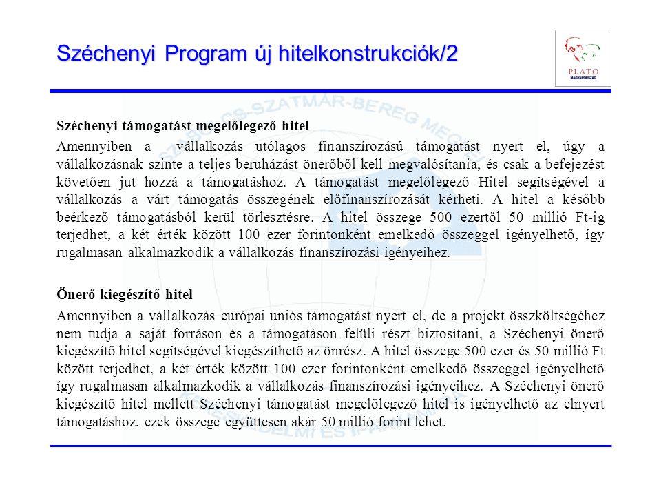 Széchenyi Program új hitelkonstrukciók/2 Széchenyi támogatást megelőlegező hitel Amennyiben a vállalkozás utólagos finanszírozású támogatást nyert el, úgy a vállalkozásnak szinte a teljes beruházást önerőből kell megvalósítania, és csak a befejezést követően jut hozzá a támogatáshoz.