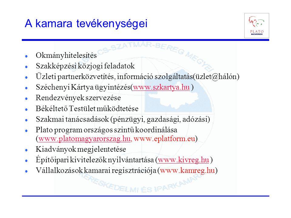 A kamara tevékenységei  Okmányhitelesítés  Szakképzési közjogi feladatok  Üzleti partnerközvetítés, információ szolgáltatás(üzlet@hálón)  Szécheny